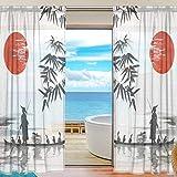 XiangHeFu Rideau Sheer Tulle Japonais Peinture Man avec Bateau Voile fenêtre Rideaux...