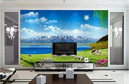 Malilove Custom Photo 3D Wallpaper Wandbild Snow Mountain Grünland Blue Sky White Clouds 3D Wandbilder Hintergrund Für Das - Blue Wallpaper Mountain