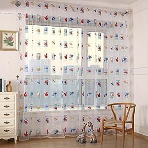 2 st ck auto druck vorhang garn f r schlafzimmer kinderzimmer gardine bxh 140x245cm. Black Bedroom Furniture Sets. Home Design Ideas