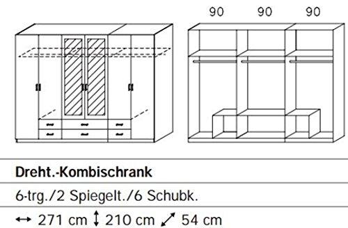Rauch 5F64 Drehtürenschrank / 6-türig / B 271 H 210 T 54 cm / Korpus/Front: alpinweiß