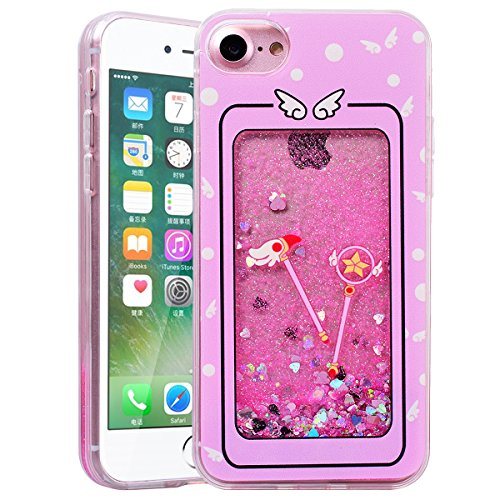 HB-Int Glitzer Liquid Hülle für iPhone 7 Plus Transparent TPU Bumper Backcover Luxus Sterne Herz Sparkle Bling Schutzhülle Flüssigkeit Handyhülle Tasche Glänz Etui - Regenbogen Pferd Rosegold Magie Stab