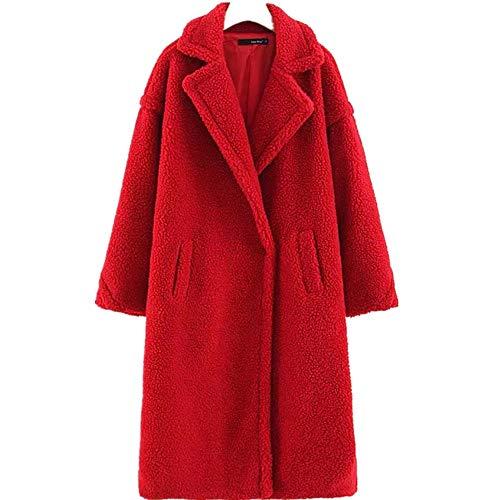 YunYoud Cappotto di Pelliccia di Agnello delle Donne - Cappotto Caldo di Spessore Invernale Cappotto di Bavero di Agnello di Cashmere di Colore Solido Comodo Caldo (L, Rosso)