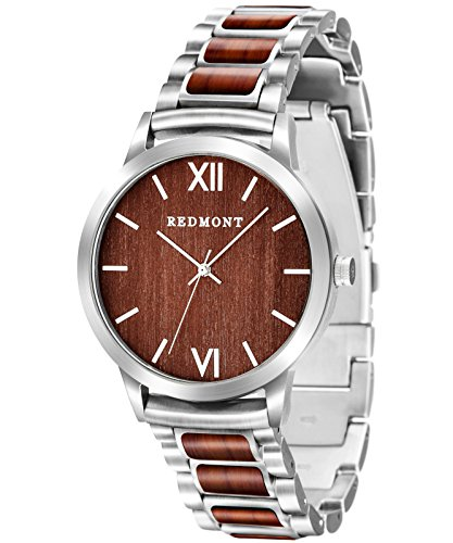 REDMONT Herrenuhr mit Edelstahlarmband Analog Quarz Horizon Collection Maroon Steel Edition