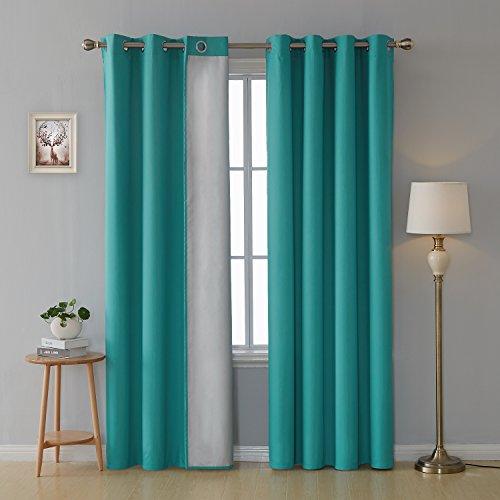 Deconovo tende termiche isolanti tende decorative per camera da letto 100% poliestere 140x260 cm turchese due pannelli