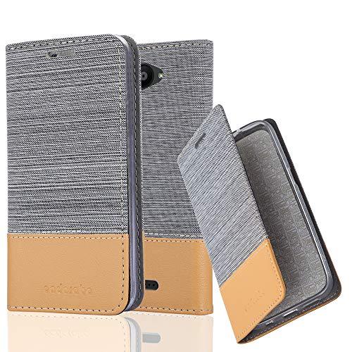 Cadorabo Hülle für BQ Aquaris U/U Lite - Hülle in HELL GRAU BRAUN – Handyhülle mit Standfunktion und Kartenfach im Stoff Design - Case Cover Schutzhülle Etui Tasche Book