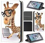 Samsung Galaxy S6 G920 Hülle von CoverHeld Premium Flipcover Schutzhülle S6 G920 aus Kunstleder Flip Case Motiv (1489 Giraffe Animiert mit Brille und Buch)