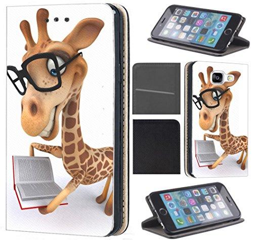 Samsung Galaxy A5 2016 A510 Hülle von CoverHeld Premium Flipcover Schutzhülle Flip Case Motiv (1489 Giraffe Animiert mit Brille und Buch)