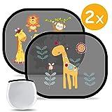 Auto Sonnenschutz Sonnenblende Baby mit UV Schutz - Premium Selbsthaftende Sonnenschutz Auto Seitenscheibe Kinder, Autofenster Sonnenschutzrollos mit 2 Muster süßen Tier Motiven(2 Stück)