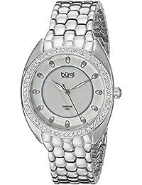 Burgi Reloj de cuarzo para mujer con Madre de Pearl Esfera Analógica Pantalla y Pulsera de aleación de plata bur145ss