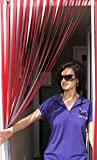 Heavy Duty Bug Blind, Fly Blind, Blind, Tür silberfarben 'rot und silber'-100cm silberfarben Meter Breite. Komplett mit Schraube in Haken für Holz Türrahmen.