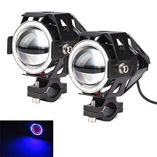 LARS360® Motorrad LED Zusatzscheinwerfer Beleuchtung Scheinwerfer U7 Nebel Lampen Angel eyes mit Schwarz/Silber/Blau Aluminium Legierung Shell Wasserdicht Blau-licht/ Rot-licht Spotlight (Schwarz- Blau Licht)