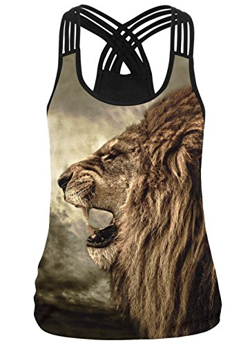 Leapparel Frauen Löwe Druck glatt Multi Criss-Cross Strappy Back Tank Top Weste Shirts L / XL (Cross Top Back Criss)