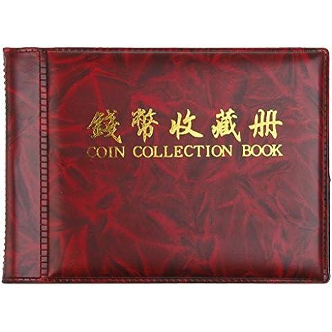 Pixnor Penny di soldi tasche Album libro 60 moneta titolari collezione deposito rosso scuro