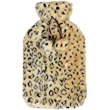 Large Hot Water Bottle With Beautiful Snow Leopard Animal Print Faux Fur Cover