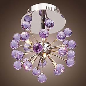 6 ampoules forme de fleur en cristal K9 Plafonnier-Suspension-Violet-C-6P 0942–98004)