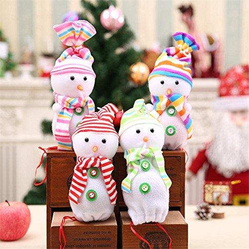 Muñeco de nieve de la víspera de Navidad Muñeco de Apple Bolsa de regalo de Navidad (4 paquetes) , snowman