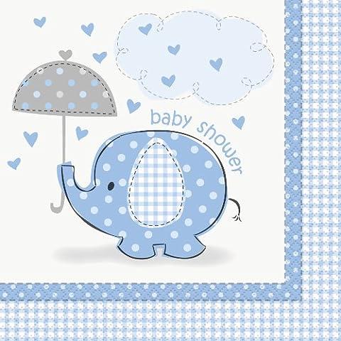Unique Party - 41692 - Paquet de 16 Serviettes en Papier Baby Shower Éléphant - Bleu