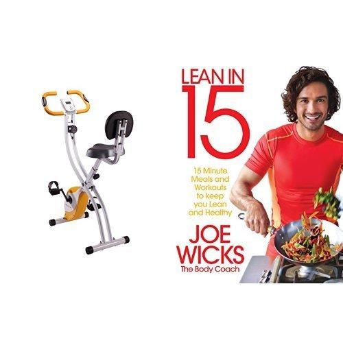 Bicicleta estática con libro de recetas y ejercicios inglés