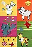 VIMODA Kinder Zimmer Teppich Kuh Scharf Eichhoernchen Hase Bunte Farben Bauernhof Tiermotiv Kinderteppich Schadstoff Geprüft 120x170 cm