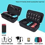 Bestico Custodia per Nintendo Switch, Case da viaggio con 10 supporti per videogiochi per Nintendo Switch Console, alimentatore CA, cavo HDMI, Joy-con Strap, Joy-con Grip