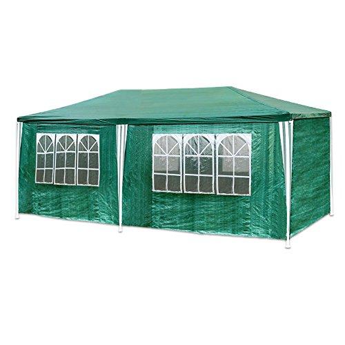 Hengda Pavillon 3 x 6 m mit 6 Seitenteilen und 2 Eingängen Gartenzelt, Material 100{2250ad2058d0c6bbb14097427402330bc89b273a9ad54b16b894503d7214d3bb} PE-Plane Gartenpavillon Partyzelt Grün