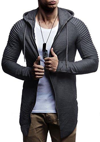LEIF NELSON Herren Sweatjacke Pullover Hoodie Kapuzenpullover Longsleeve Biker Jacke Gesteppter Langarm Basic Sweatshirt (Zip Biker Hoodie)