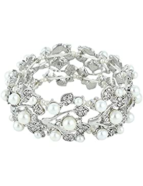 EVER FAITH® österreichischen Kristal elegant künstliche Perle Braut Armband Armreif klar Silber-Ton N04582-1