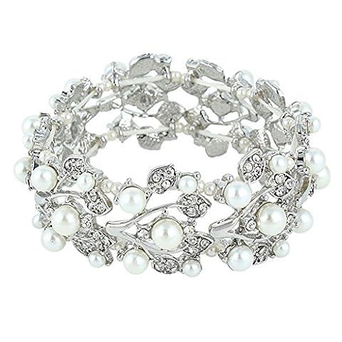 EVER FAITH® Silver-Tone Crystal Simulated Pearls Stretch Bridal Bracelet Clear - Silver-Tone