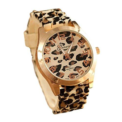 SAMGU Genf Leopard Silikon Gelee Gel Quarz analoge Armbanduhr
