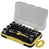 Hama Steckschlüsselsatz Mini Set 25-teilig 1/4 Zoll (Werkzeug Set für Fahrrad, Motorrad, Modellbau, Angler-Spinnrollen, Haushalt mit Ratsche, Bits, Adapter, Verlängerung und Aufbewahrungsbox, 1/4 Zoll) schwarz/gelb