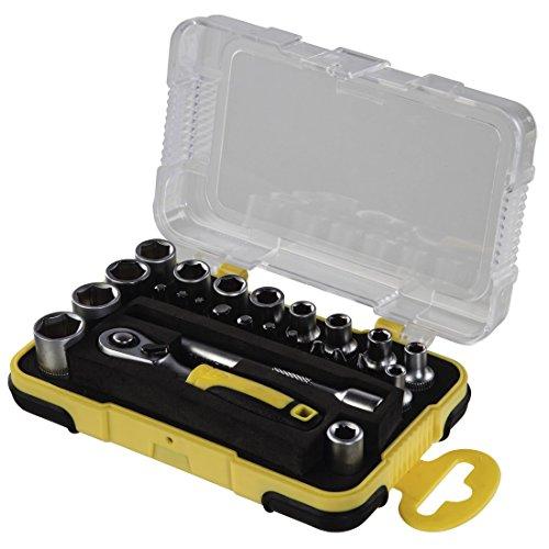 Hama Mini Steckschlüsselsatz Set 25-teilig 1/4 Zoll (Werkzeug Set für Fahrrad, Motorrad, Modellbau, Haushalt mit Ratsche, Bits, Adapter, Verlängerung und Aufbewahrungsbox, 1/4 Zoll) schwarz/gelb