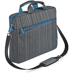 CSL - Notebooktasche für Notebooks bis 17,3 Zoll (43,9cm)   Laptop Tasche / Schultertasche   mit Zubehör-Fächern und widerstandsfähigen Polsterwänden   schmutz- und wasserabweisend