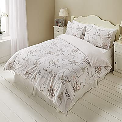 Romantic Paris Love Hearts Script Butterfly Floral Duvet Set Quilt Cover Bedding - inexpensive UK light shop.