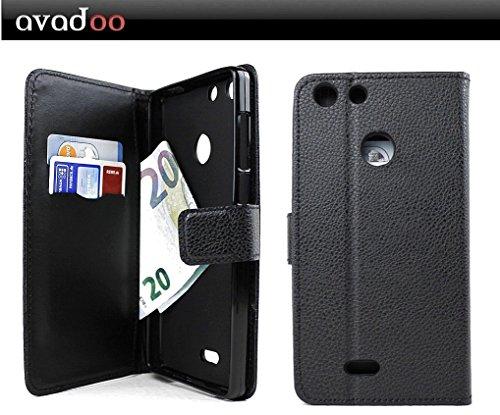 avadoo® Archos 55 Diamond Selfie Flip Case Cover Tasche Schwarz mit Magnetverschluss & Dualnaht als Cover Tasche Hülle