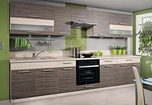 Komplett Küche 320cm Schränke ZEBRANO/BIRNE