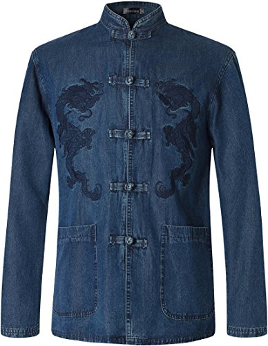 jeansian Hombre Estilo Etnico Retro Cardigan Camisa China Costume Tang Suit Kungfu Taichi Tang Shirt L947 Blue XXL