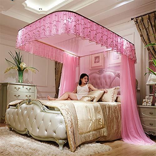 AIMCAE Betthimmel, U-förmig, Moskitonetz, DREI offene Türen, luxuriöses Prinzessinnen-Moskitonetz 4feet B