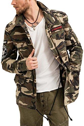 trueprodigy Casual Herren Marken Pilotenjacke mit Badges, Herrenjacke cool und stylisch vintage (sportlich & Slim Fit), Jacke für Männer in Farbe: Khaki 3573108-0629-S, Größe:L, Farben:Khaki