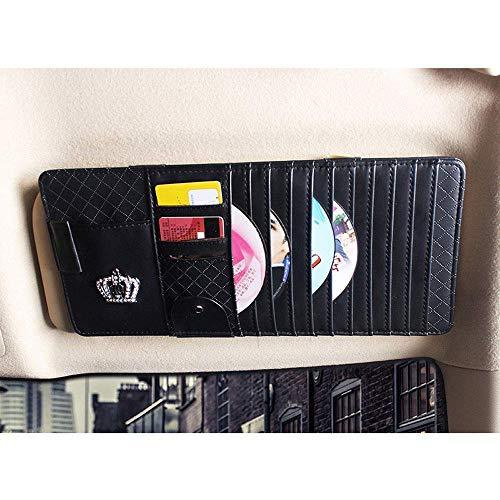 Mirage Auto Sonnenblende Veranstalter Bord Elektronische Zubehör-Speicher-Halter for Multifunktions-CD-Klipp-Auto universal, Beige (Color : Black)