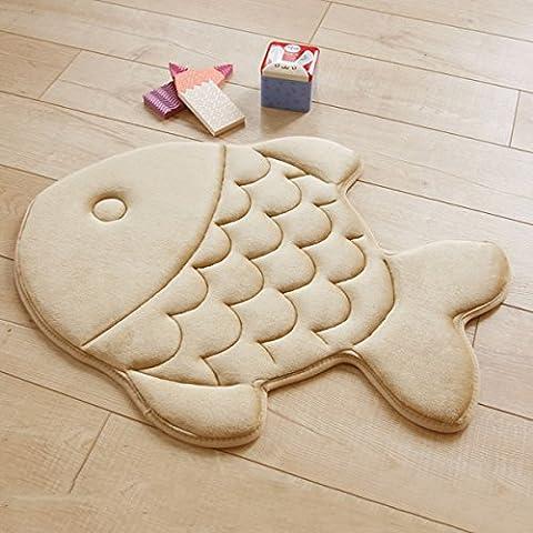 Haply antidérapant doux Kid Chambre à coucher Salon Tapis Tapis confortable en forme de poisson Motif 38,1x 119,4cm, Mousse viscoélastique, kaki, FISH