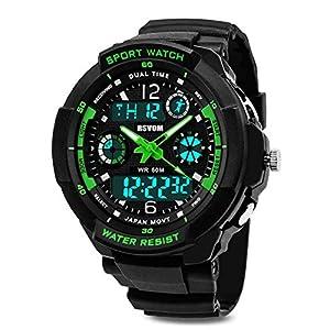 Jungen Digitaluhren, Wasserdicht Kinderuhren mit 12/24 Stunden/Dual Zeitzone/Alarm/Stoppuhr, stoßfest Kinder Outdoor Sports Uhren für Jugendliche Jungen Geschenke Grün von RSVOM