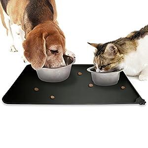 igadgitz Home Tapis de Nourriture en Silicone pour Animaux 47x30cm Tapis Gamelle Antidérapant pour Bols Chien Chat