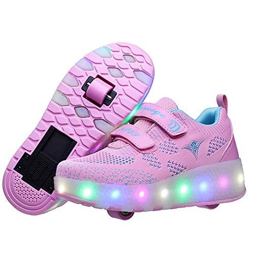 525 Usb (Charmstep Kinder Skateboard Schuhe Kinderschuhe mit Rollen LED Skate Rollen Schuhe USB Aufladbare Sportschuhe Laufschuhe Sneakers mit 2 Räder Jungen Mädchen,Pink,38EU)