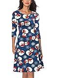 Miusol Damen Weihnachten Kleid Weihnachtsdeko Weihnachtsmann Casual A-Linie Kleid Blau S