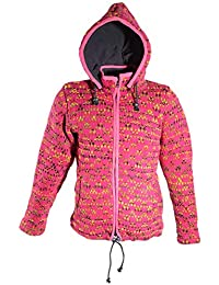 951f08f4ef98 Hippie Goa Nepal Strickjacke Poncho Wolle mit Fleecefutter und abnehmbarer  Kapuze Pink