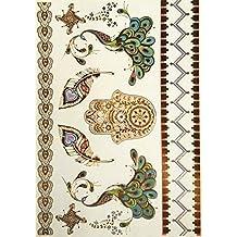Yh074 - Tatouage Faux pour le corps - Tattoo - Bras - Chevilles - Poignet - Jambe - Jambe - Epaule - Dos - Plumes - Main de Fatima - Paon - Inde - Oriental - Bouddhiste - Spirituel - Femme