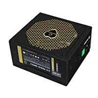 GAMEMAX GM-500G 80 Plus Gold 500 W Active PFC 14CM Fan ATX Power Supply Unit, Compatible with ATX12V 2.3, High-Efficiency – 90+, Safety CE, FCC, GOST, CB,EAC - Black | GM-500G