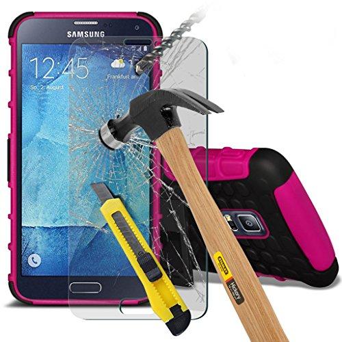 Samsung Galaxy S5 Neo hülle Tasche (Grün + Kopfhörer) Slim-Fit-Abdeckung für Samsung-Galaxie-S5 Neo-hülle Tasche Haltbarer S Linie Wellen-Gel-Kasten-Haut-Abdeckung + mit Aluminium Earbud Kopfhörer, Po Shock proof + glass (Hot Pink)