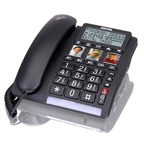 Switel TF550 Grosstastentelefon schnurgebunden. Drei Kurzwahl Fototasten, großes Display. Klingelt sehr laut. Hörgerätekompatibel