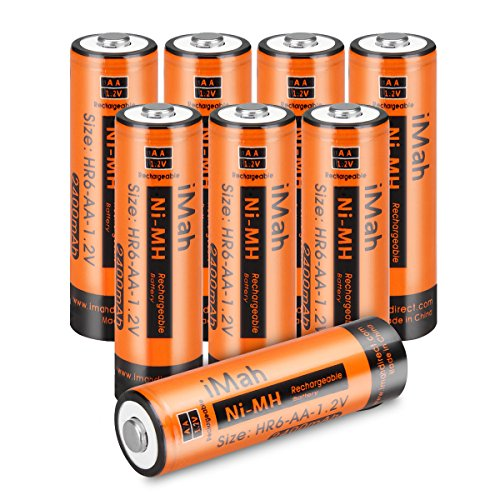 [Upgrade] IMah HR6 AA Rechargeable Batteries 2400mAh For Solar Light, Remote Control Car, Clock, Flashlight, Toys 50-80% Pre-charged, Pack Of 8